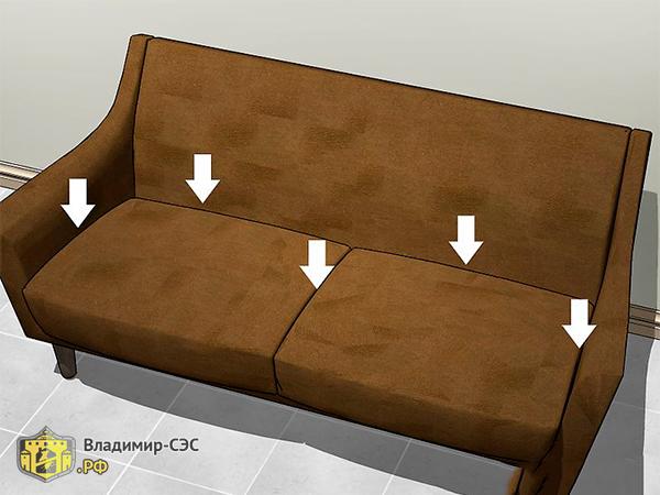 Как обнаружить клопов в диване