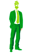 человек зеленый костюм