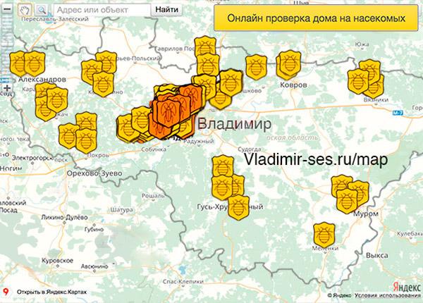 карта клопы владимир